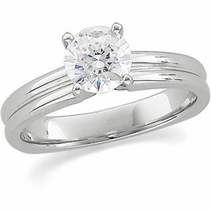 Round Diamond Solitaire Engagement Ring 14k  ( 1 Ct, F-G Color, SI Clarity GIA Certified)