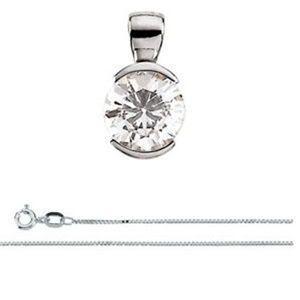 Round Diamond Solitaire Pendant Necklace 14K White Gold (1.05 Ct, D Color, VS2(Clarity Enhanced) Clarity) EGL