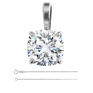 Cushion Diamond Solitaire Pendant Necklace 14K White Gold (1.5 Ct, G , VS2( Enhanced) ) EGL