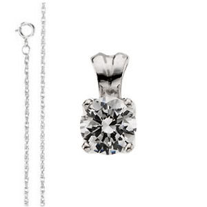 Round Diamond Solitaire Pendant Necklace 14K  ( 1 Ct, F-G Color, SI Clarity GIA Certified)
