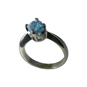 Round Diamond Solitaire Engagement Ring 14k White Gold 0.71 Ct, (Sky Blue(Color irradiated) Color, I1 Clarity)