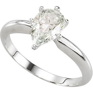Pear Diamond Solitaire Engagement Ring 14K White Gold 0.74 Ct, (I Color, I1(Clarity Enhanced) Clarity)