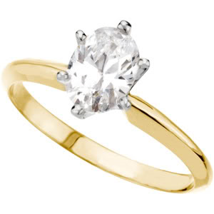 Oval Diamond Solitaire Engagement Ring 14k Yellow Gold 0.88 Ct, (K Color, I1(Clarity Enhanced) Clarity)