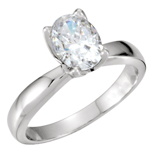 Oval Diamond Solitaire Engagement Ring 14k 0.5 Ct, I , I1(Clarity Enhanced)