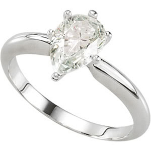 Pear Diamond Solitaire Engagement Ring 14K White Gold 0.48 Ct, (E Color, SI1(Laser Drilled) Clarity)