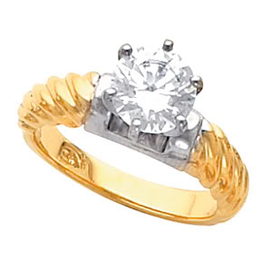Round Diamond Solitaire Engagement Ring, 14k Two Tone Gold (2.02 Ct, F Color, SI3(K.M) Clarity) IGL Certified