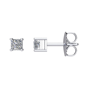 Princess Diamond Stud Earrings 14k White Gold 0.7 Ct,I Color,SI2 Clarity
