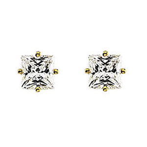 Princess Diamond Stud Earrings 14k Yellow Gold 0.63 Ct,F Color,I1 Clarity
