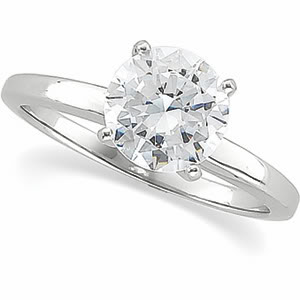 Round Diamond Solitaire Engagement Ring 14k White Gold 0.49 Ct, H , I2