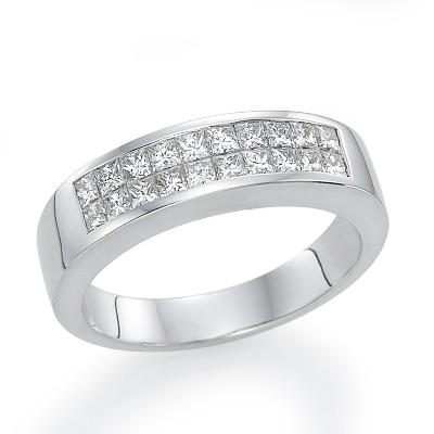 18k White Gold Invisible Setting Princess Cut Diamond Wedding Band 0 9 Ct G Color Vs1 Clarity