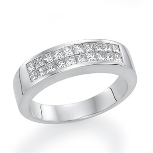 18k White Gold Invisible Setting Princess Cut Diamond Wedding Band (0.9 Ct., G Color, VS1 Clarity)
