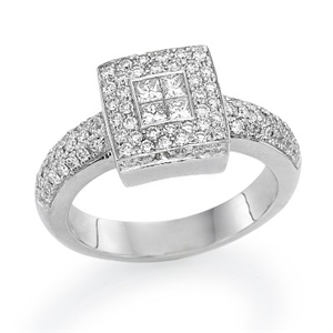 18k White Gold Invisible Setting Princess & Round Cut Diamonds Halo Fashion Engagement Ring (0.81 Ct., G Color, VS1 Clarity)