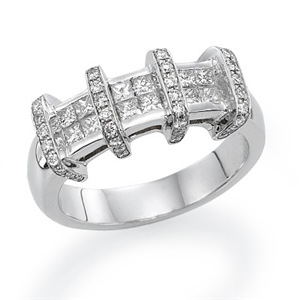 18k White Gold Invisable Box Setting Princess & Round Cut Diamond Fashion Engagement Ring (0.77 Ct., G Color, VS1 Clarity)
