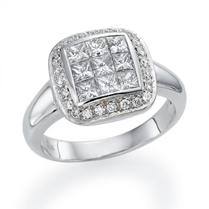 18k White Gold Pave Set Princess and Round Cut Diamonds Halo Engagement Ring (1.26 Ct., G Color, VS1 Clarity)