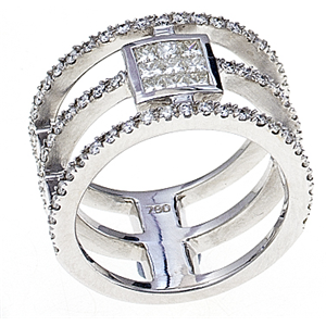 18k White Gold Triple Band Fashion Engagment Ring With Invisible Set Princess Cut Diamonds & Prong Set Round Cut Diamonds (1.11 Ct., G Color, VS1 Clarity)