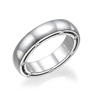 18K White Gold Side Set Eternity Wedding Band with Half Bezel Mounted Round Cut Diamond (0.36 Ct., G Color, VS1 Clarity)