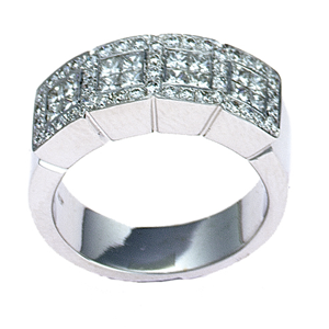 18k White Gold Princess & Round Cut Diamonds Box style Fashion Wedding Band (1.13 Ct., G Color, VS1 Clarity)