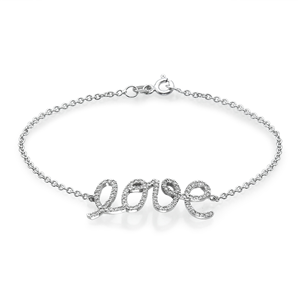 18k White Gold Fashion Love Bracelet With Round Cut Diamonds (0.56 Ct., G Color, VS1 Clarity)