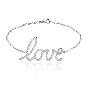 18k White Gold Fashion Love Bracelet With Round Cut Diamonds (0.48 Ct., G Color, VS1 Clarity)