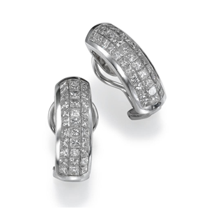18k White Gold Princess Cut Diamond Fashion Earings (3.63 Ct., G Color, VS1 Clarity)