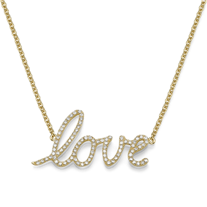 18k Yellow Gold Love Pendant with Round Cut Diamonds With Chain (0.51 Ct., G Color, VS1 Clarity)
