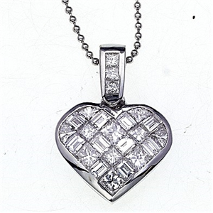 18k White Gold Invisible Set Princess Cut Diamonds In A Heart Pendant with Chain (1.57 Ct., G Color, VS1 Clarity)
