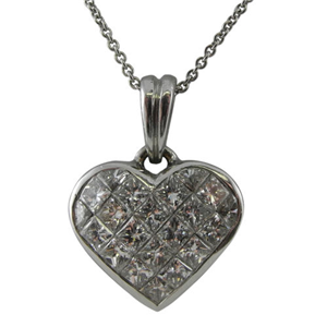 18k White Gold Invisible Set Princess Cut Diamonds In A Heart Pendant with Chain (1.53 Ct., G Color, VS1 Clarity)