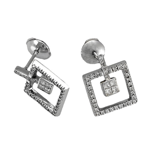 18k White Gold Fashion Earrings with Princess & Round Cut Diamonds in Square Shaped Mounting  (0.88 Ct., G Color, VS1 Clarity)