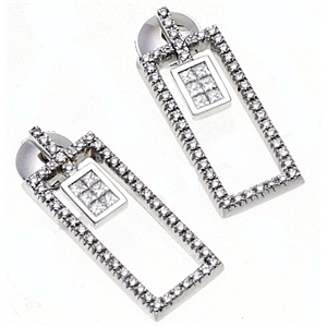 18k White Gold Fashion Earrings with Princess & Round Cut Diamonds in Rectangle Shaped Mounting  (0.98 Ct., G Color, VS1 Clarity)