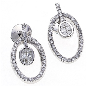 18k White Gold Fashion Earrings with Princess & Round Cut Diamonds in Oval Shaped Mounting  (0.97 Ct., G Color, VS1 Clarity)