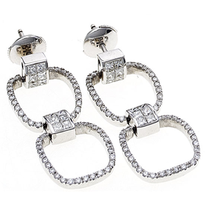 18K White Gold Dangle Earrings With Invisible Set Princess & Round Cut Diamonds  (1.81 Ct., G Color, VS1 Clarity)