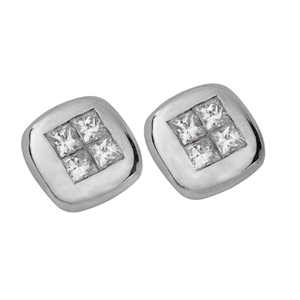 18K White Gold Invisible Setting Princess Cut Diamond Fashion Button Earrings (0.71 Ct., G Color, VS1 Clarity)
