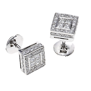 18k White Gold Fashion Earrings With Invisable Set Princess & Round Cut Diamonds (1.26 Ct., G Color, VS1 Clarity)