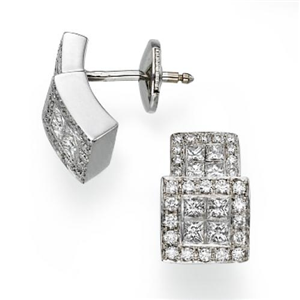 18k White Gold Invisible Setting Princess & Round Cut Diamond Fashion Step Level Earrings (1.53 Ct., G Color, VS1 Clarity)