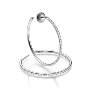 18k white Gold Fashion Hoop Earring with Round Cut Diamonds (0.88 Ct., G Color, VS1 Clarity)