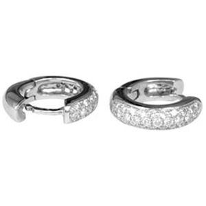 18k White Gold Fashion Hoop Earrings With Pave set Round Cut Diamonds (0.42 Ct., G Color, VS1 Clarity)
