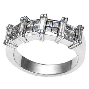 18k White Gold Invisible Square Setting Princess & Baguette Cut Diamond Wedding Band (1 Ct., G Color, VS1 Clarity)