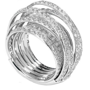 18k White Gold Multi Band Fashion Ring  With Round Cut Diamonds (3.22 Ct., G Color, VS1 Clarity)