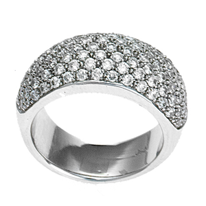 18k White Gold Cluster Fashion Wedding Band With Round Cut Diamonds (1.71 Ct., G Color, VS1 Clarity)
