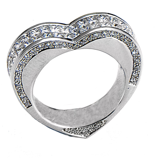 18k White Gold Heart Shaped Fashion Engagment Ring With Princess & Round Cut Diamonds (2.31 Ct., G Color, VS1 Clarity)