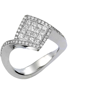 18k White Gold Fashion Engagment Ring With Invisible Set Princess and Prong Set Round Cut Diamonds (0.9 Ct., G Color, VS1 Clarity)