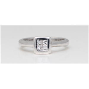 18k White Gold Square invisible set classic chic engagement diamond ring (0.26 Ct H ,VS)