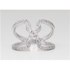 18k White Gold Round Pave Setting Modern diamond engagement exclusive crossover ring (0.51 Ct G VS Clarity)