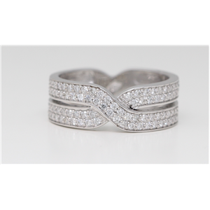 18k White Round Pave Setting Double row channel set diamond crossover wedding ring (0.57 Ct G VS Clarity)