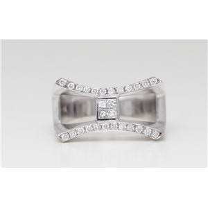 18k White Gold Channel & invisible set round & princess cut diamond dress engagement ring (0.6 Ct G & G ,VS)