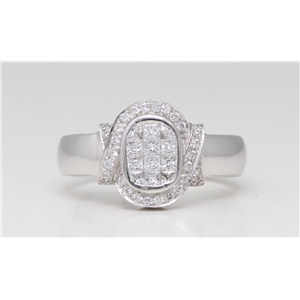 18k White Gold Round Princess Diamond Invisible Setting set & classic modern ring (0.91 Ct G VS Clarity)