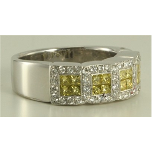 18k White Gold Princess & round cut diamond classic wedding eternity band (1.05 Ct G & yellow ,VS)