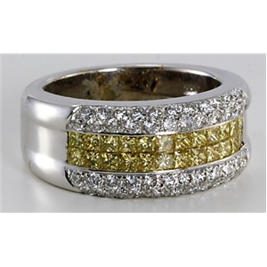 18k White Gold Princess and round cut modern classic diamond eternity ring (1.53 Ct G & yellow ,VS)