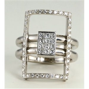 18k White Gold Princess cut invisible set & round cut diamond engagement cocktail ring (0.76 Ct G & G ,VS)