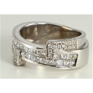 18k White Gold Princess cut invisible set and round diamond crossover eternity band (1.32 Ct G & G ,VS)
